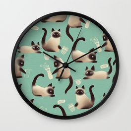 Bad Siamese Cats Knocking Stuff Over Wall Clock