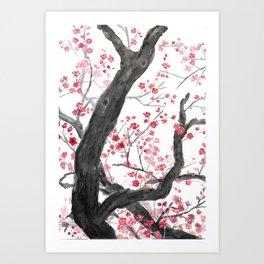red plum flower forest Art Print