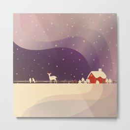 Peaceful Snowy Christmas (Plum Purple) Metal Print