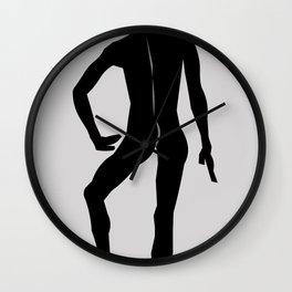 Male Nude Noir 12 Wall Clock