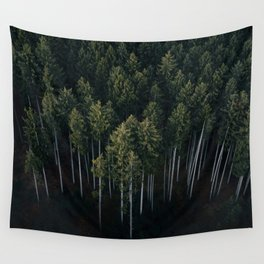 Aerial Photograph of a pine forest in Germany - Landscape Photography Wall Tapestry