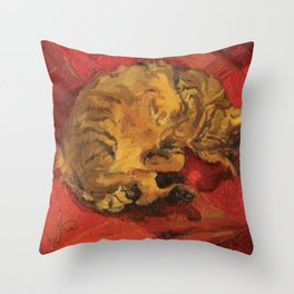 Tabby Cat Sleeping Animal Oil Painting in Vibrant Red Brown Yellow Impressionist Bright Colour Throw Pillow
