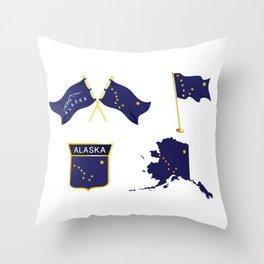 Alaska Flag Happy National Alaska Day Throw Pillow