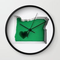 oregon Wall Clocks featuring Oregon by Olga Skorokhod