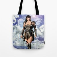 xena Tote Bags featuring Xena: Warrior Princess by SB Art Productions