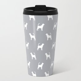 Bloodhound dog breed minimal pattern grey and white dog lover bloodhounds breed Travel Mug