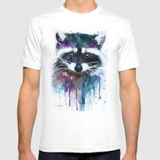 Raccoon White LARGE Mens Fitted Tee