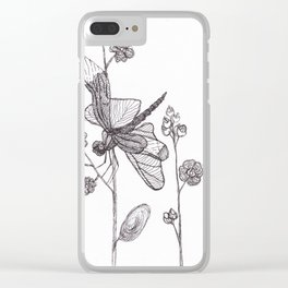 Dragonfly on the flower Clear iPhone Case