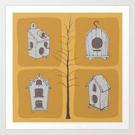 Birdhouses and tree Art Print