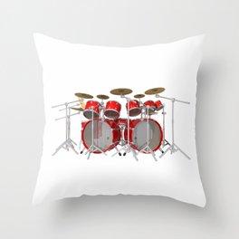 Red Drum Kit Throw Pillow