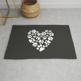 Dog Paw Prints Heart Rug