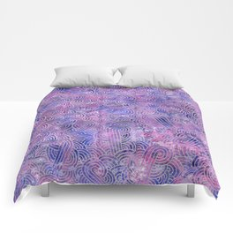 Purple and faux silver swirls doodles Comforters