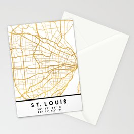 ST. LOUIS MISSOURI CITY STREET MAP ART Stationery Cards
