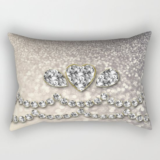 Diamonds and sparkles I- Silver elegant glitter design Rectangular Pillow