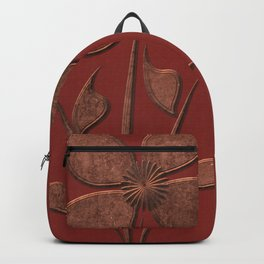 Cute Copper Look Flower Red Canvas Backpack