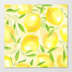 Lemons with leaves watercolor pattern Canvas Print