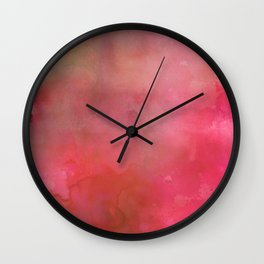 Abstract pink coral hand painted watercolor paint Wall Clock