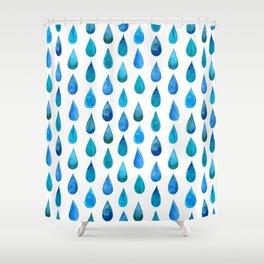 Blue Raindrop Shower Curtain
