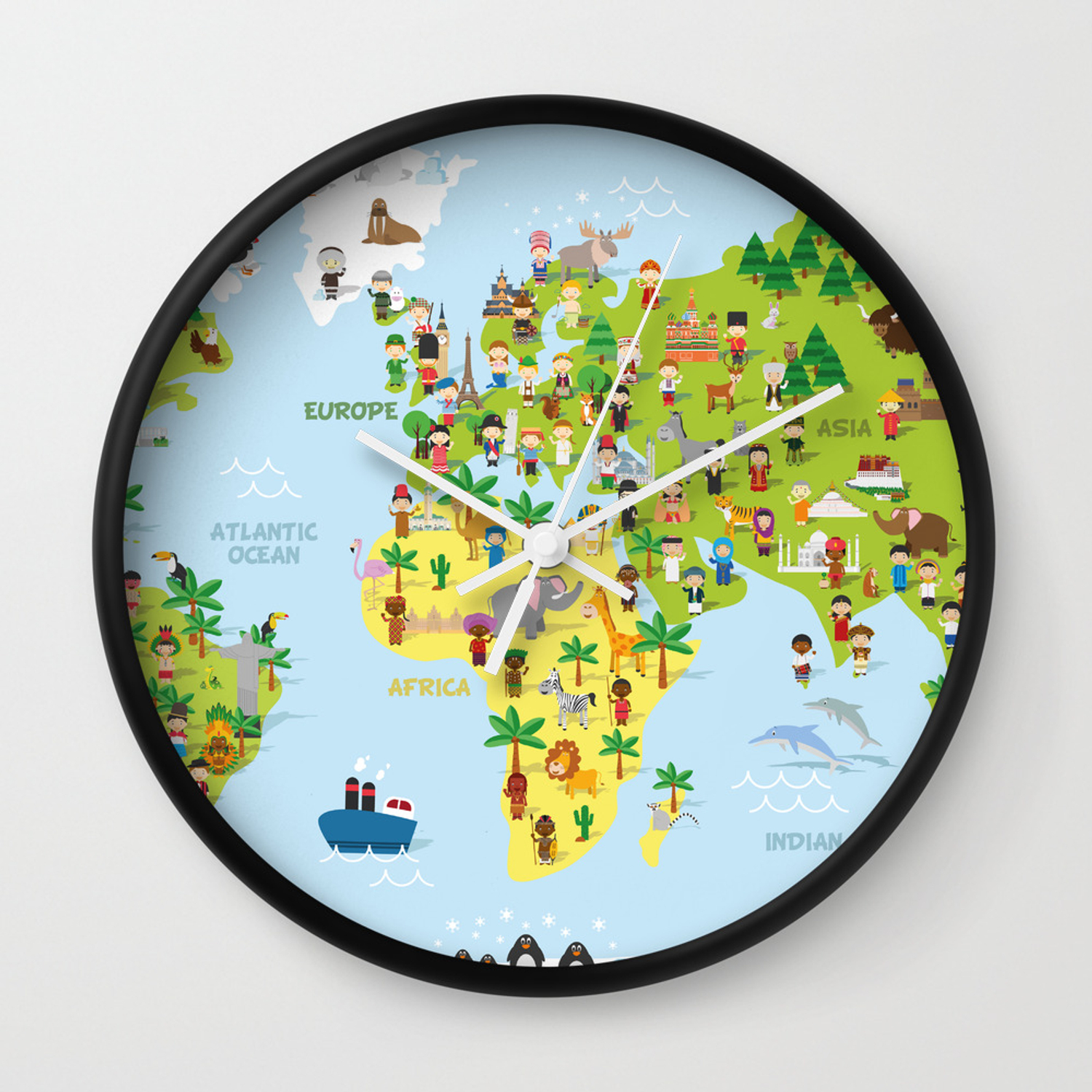 Funny cartoon world map with childrens of different nationalities, on different world flags, different countries of the world, different boxes, different governments of the world, different mountains, types of maps, different flowers, thematic map, mappa mundi, different map projections, topographic map,