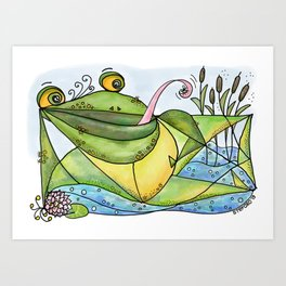 Frog with curls – Lockenfrosch Art Print