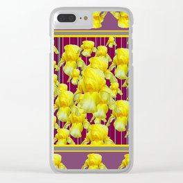 SEA OF YELLOW IRIS IN PUCE-PURPLE PATTERN ART Clear iPhone Case
