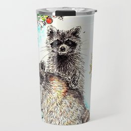 Raccoons in the Forest (color edition) Travel Mug