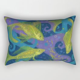 Golden Fishes, Blue &Yellow Rectangular Pillow