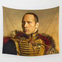 allyson johnson Wall Tapestries featuring Dwayne (The Rock) Johnson - replaceface by replaceface