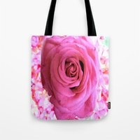 shabby chic Tote Bags featuring Shabby Chic Pink Rose by Saundra Myles