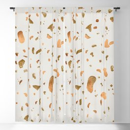 Blush terrazzo with gold and copper spots Blackout Curtain