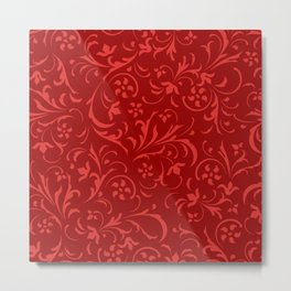 Pink and red swirly floral damask Metal Print