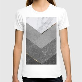 Marble Gray Copper Black Gold Chevron T-shirt