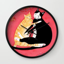 Cats on a rug Tuxedo cat and Orange Tabby by Tascha Wall Clock