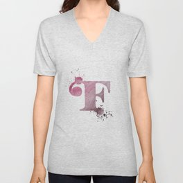 """""""F"""" Watercolour Letter Typography Illustration Hand Made Initial Unisex V-Neck"""
