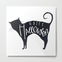 Black Halloween Cat Metal Print