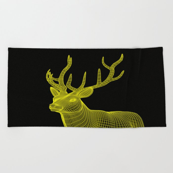 numeric deer 4 Beach Towel