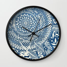 Diamond and Doodle Mandala On Blue Wall Clock