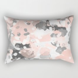 grey and millennial pink abstract painting trendy canvas art decor minimalist Rectangular Pillow