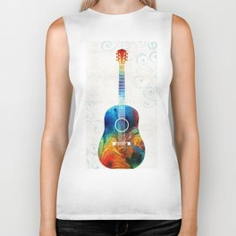 Colorful Guitar Art by Sharon Cummings Biker Tank