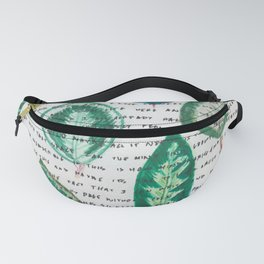 Leaves with words Fanny Pack