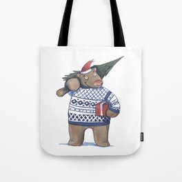 Bear with new year tree Tote Bag