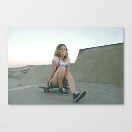GIRL BLOWING BUBBLEGUM Canvas Print