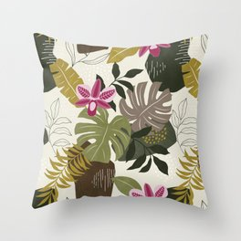 Cut Out Collage Tropical Print in Green, Brown & Pink. Throw Pillow