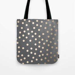 Simply Dots White Gold Sands on Storm Gray Tote Bag