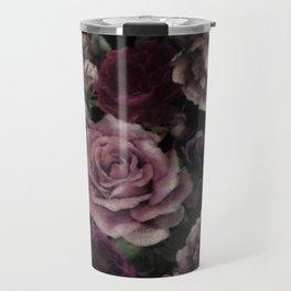 Roses In Burgundy And Pink Vintage Botanical Garden Flowers Travel Mug
