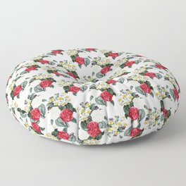 Daffodils Roses Vintage Floral Wallpaper Pattern Floor Pillow
