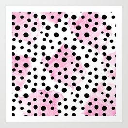 Modern abstract black pink watercolor polka dots Art Print