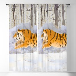 The Siberian Tiger Running in the Snow Blackout Curtain