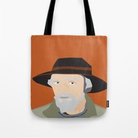 scandinavian Tote Bags featuring Scandinavian fisherman by Design4u Studio