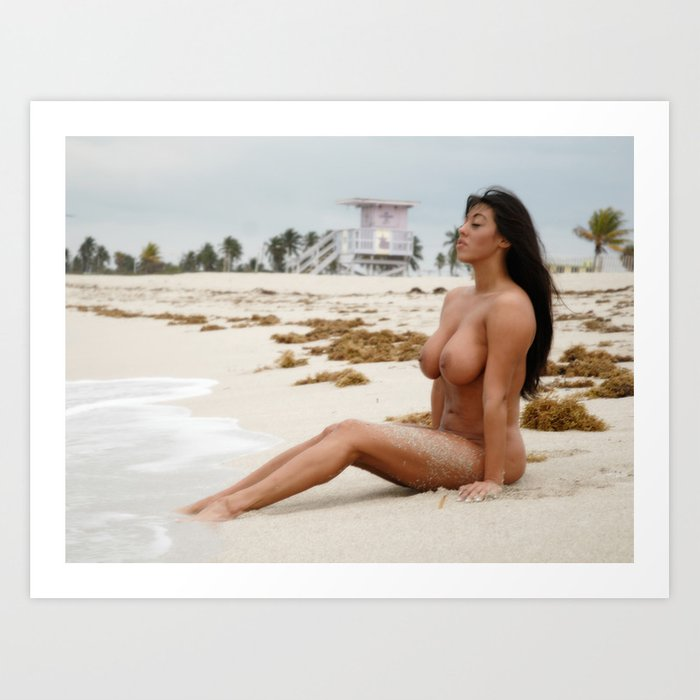 8802-Ss Beautiful Naked Woman Nude Beach Sand Surf Big -3887